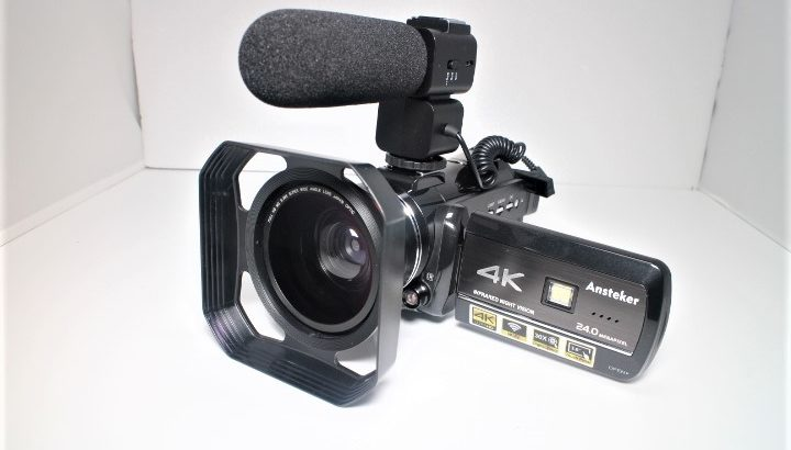 Ansteker 4Kビデオカメラ HDR-AC3【外部マイク付属、超広角に対応】