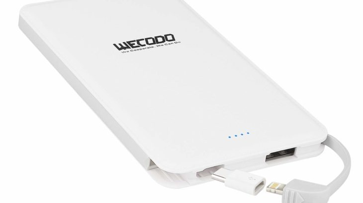WECODO 超薄型モバイルバッテリー【この薄さでケーブル内蔵、USB-Cにも対応】