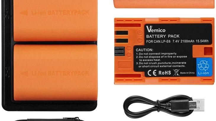 【USB-Cで急速充電!】Vemico LP-E6/LP-E6N バッテリー&充電器